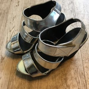 F21 Silver Wedge Sandals